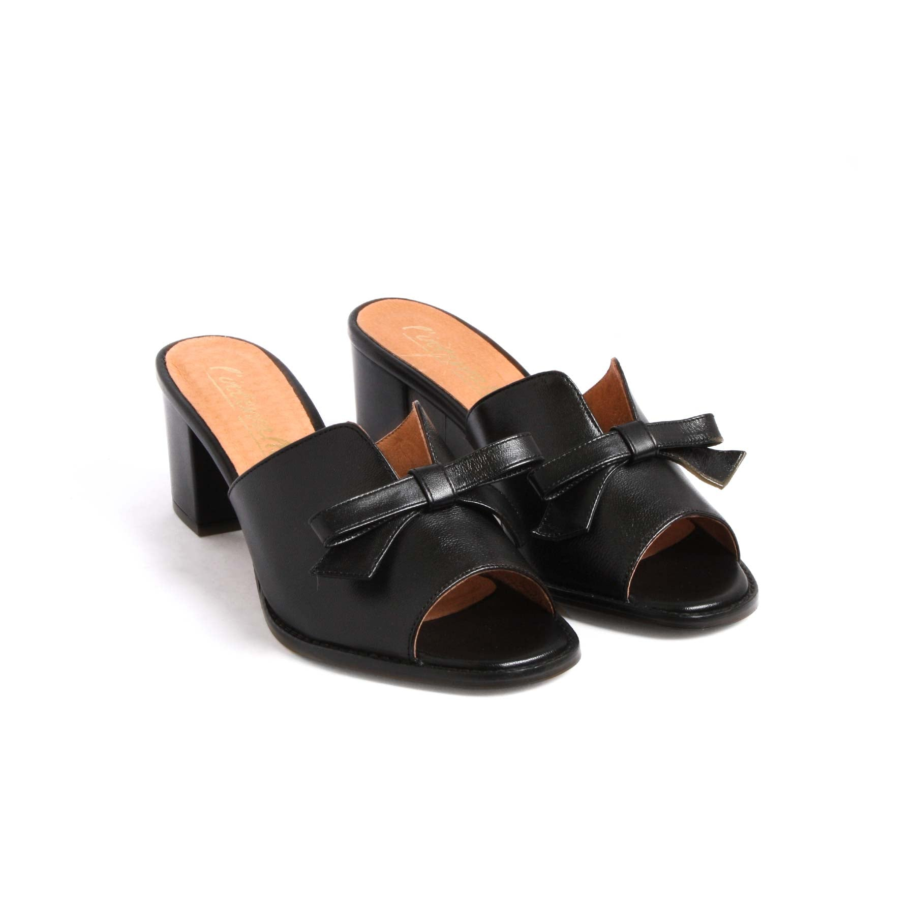 Mules, Fasmin Black Leather - Lintervalle shoes for woman