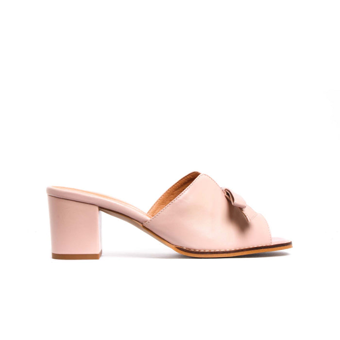 Mules, Fasmin Blush Pink Leather - Lintervalle shoes for woman