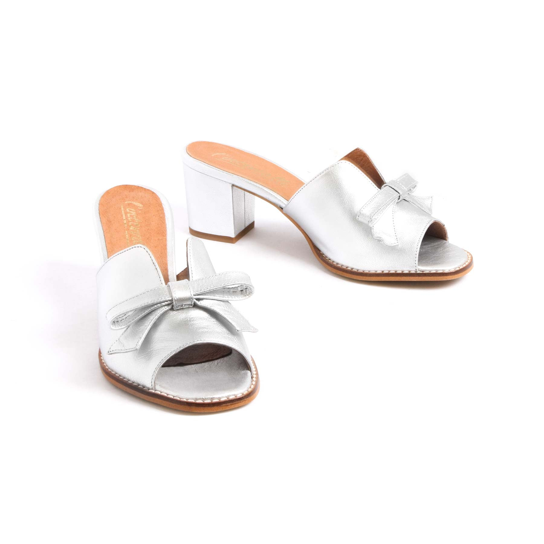 Mules, Fasmin Silver Leather - Lintervalle shoes for woman