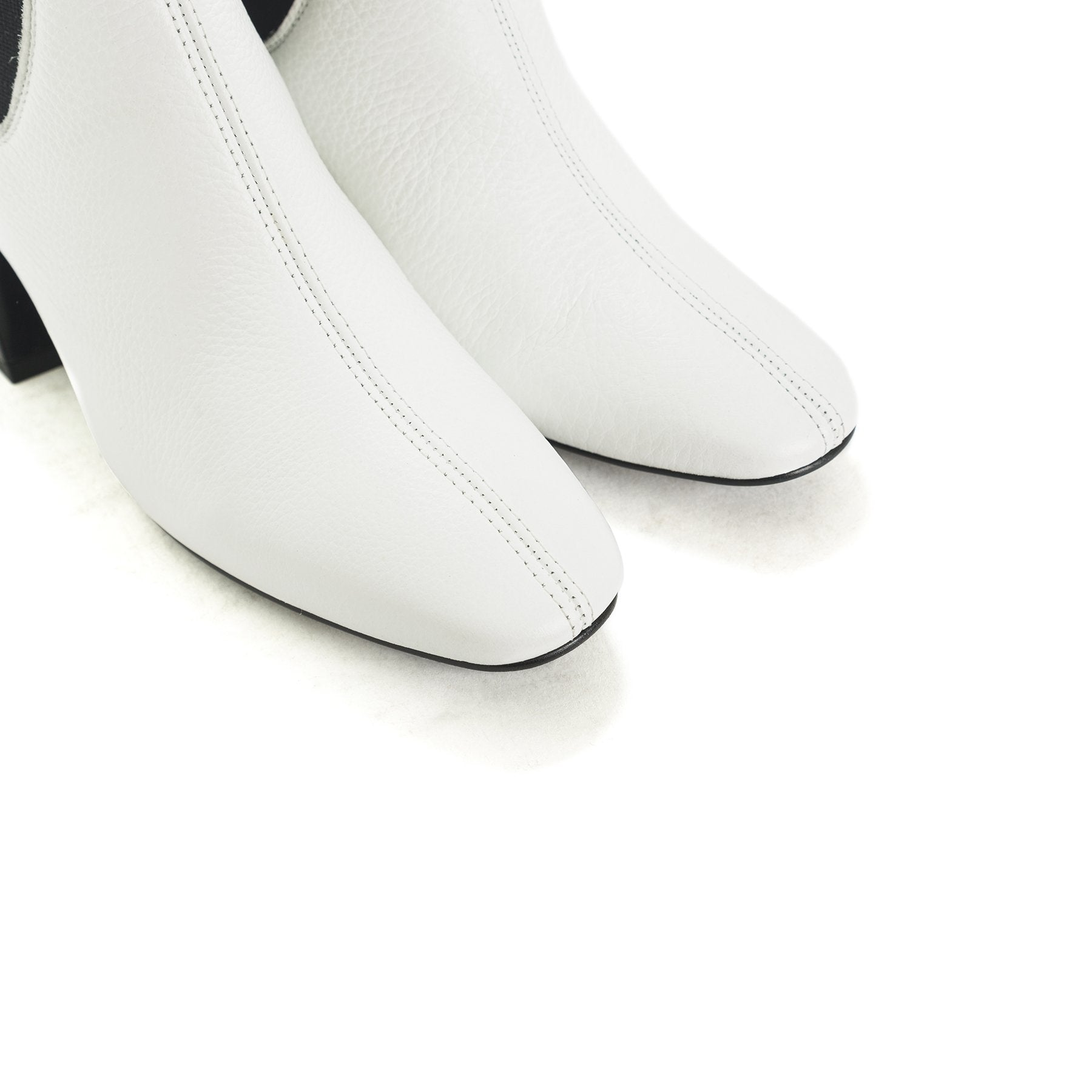 Fawn White Leather Boots