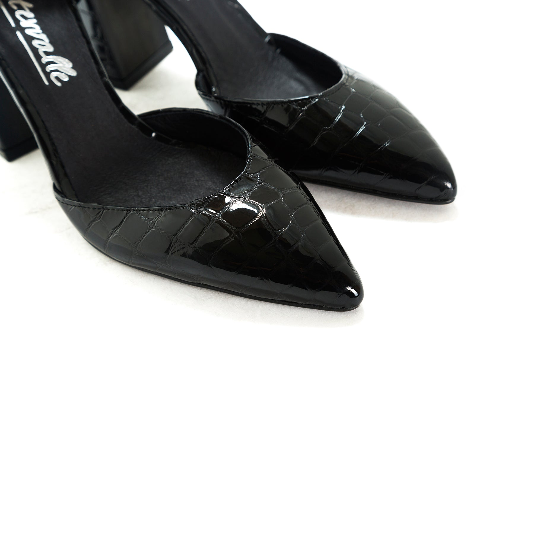 Felicia Black Croco Pumps