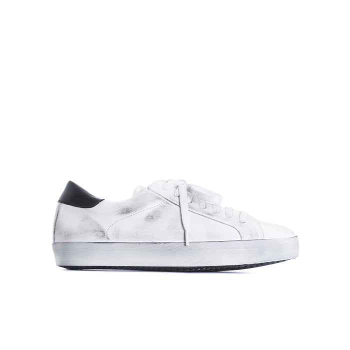 Gaelle White Distress Leather Sneakers