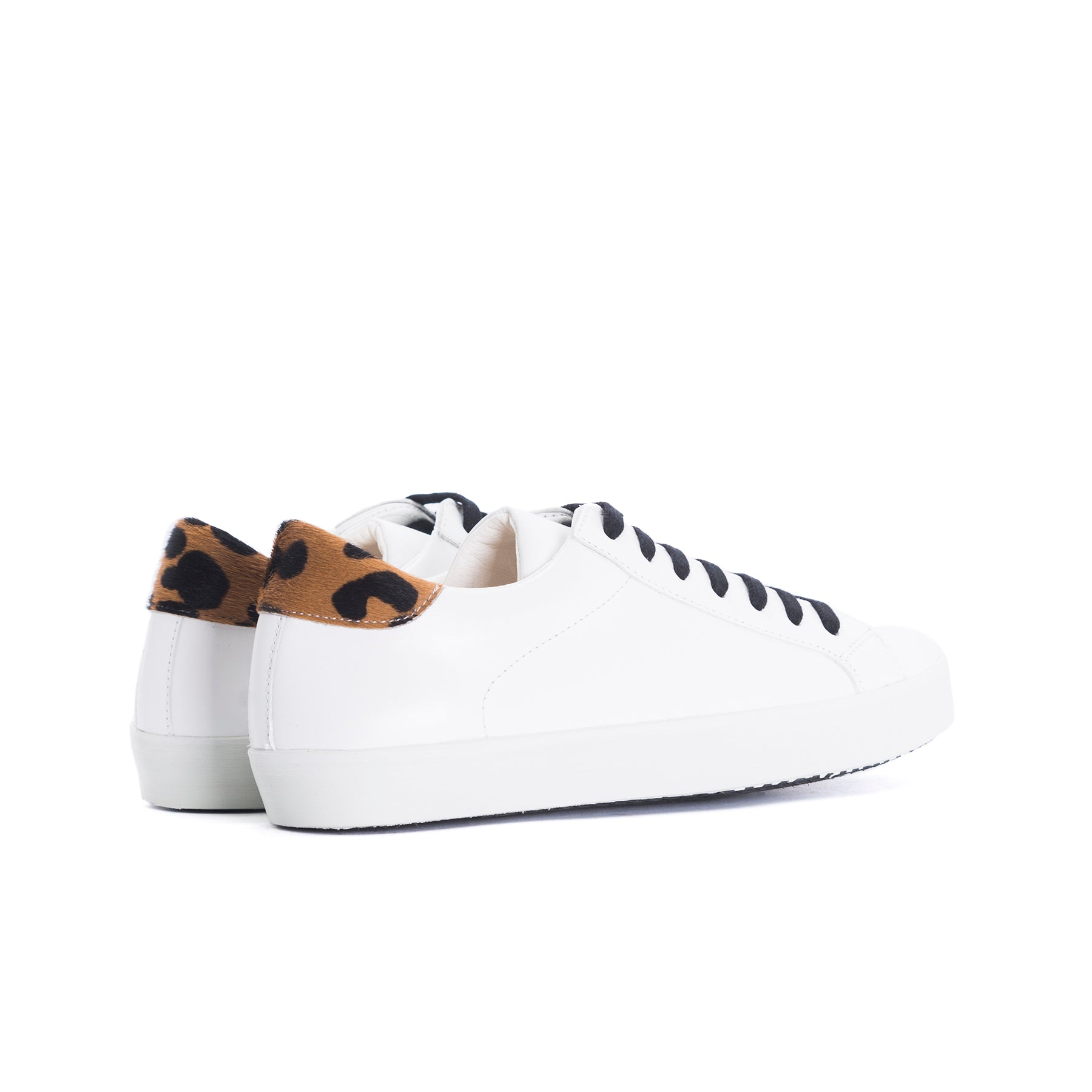 Gaelle White&Leopard Leather Sneakers
