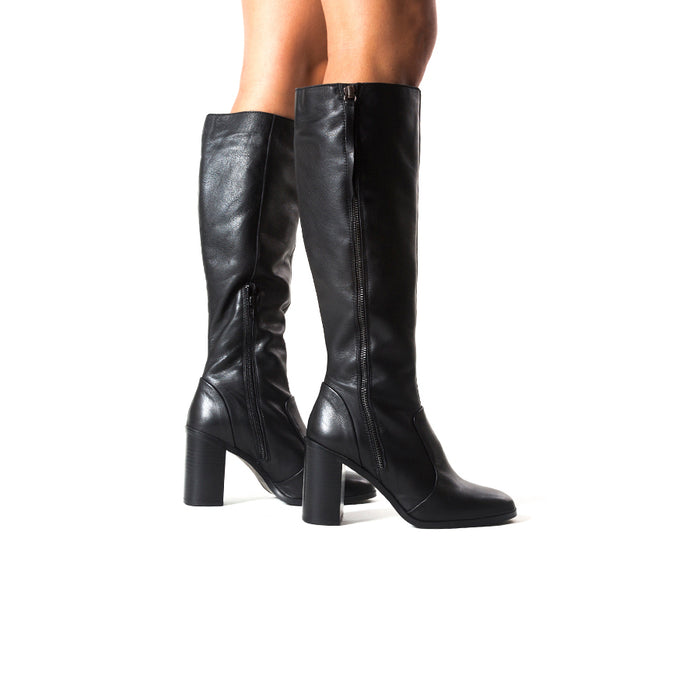Gavar Black Leather Boots