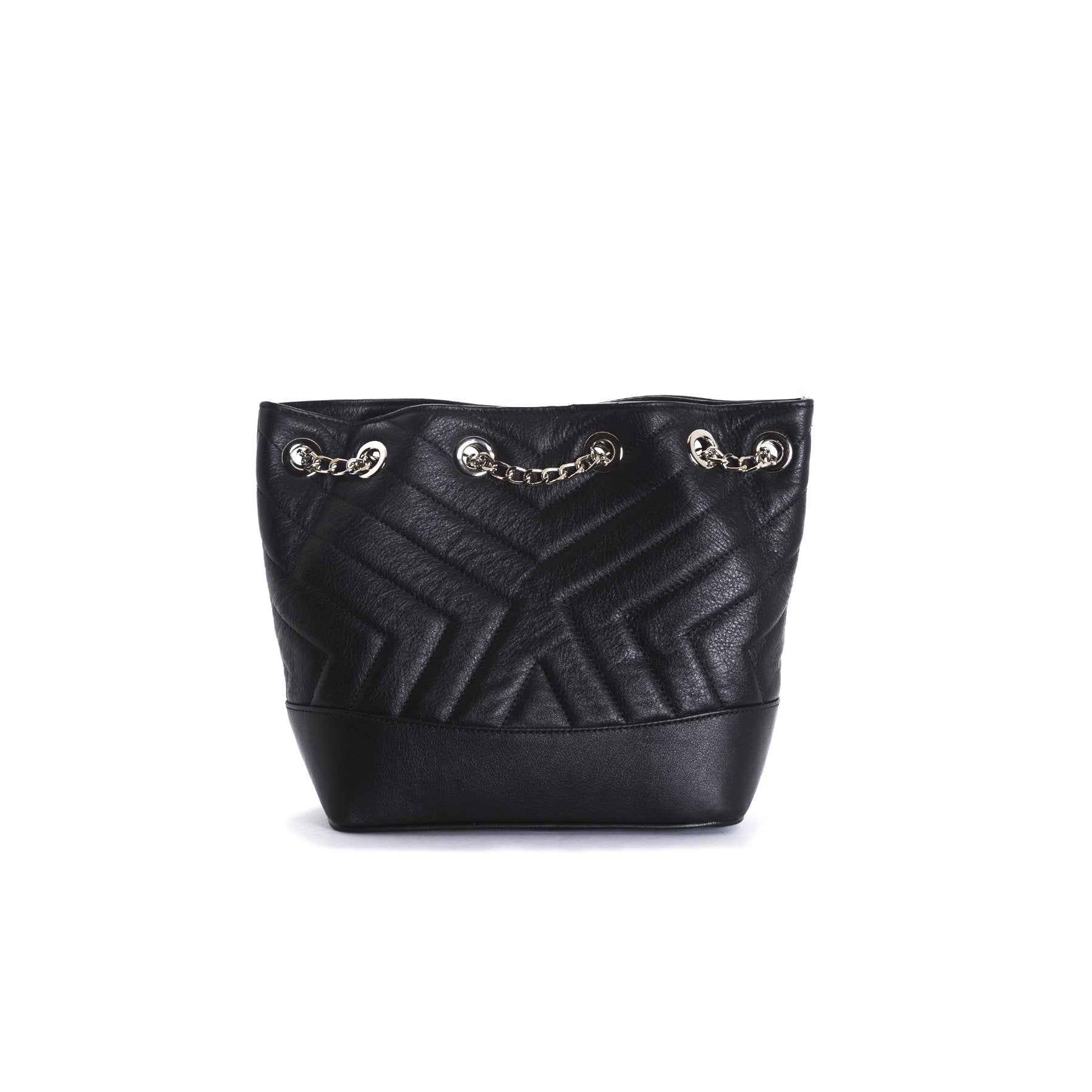 Ginette Black Leather Shoulder Bags