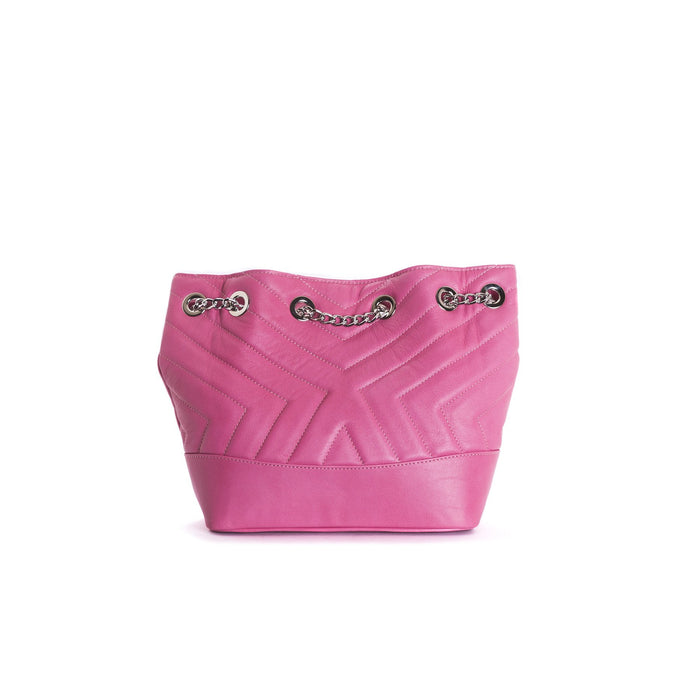 Ginette Fuchsia Leather Shoulder Bags