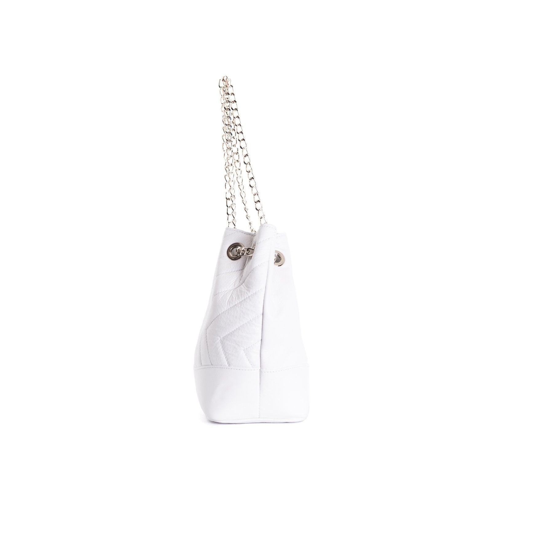 Ginette White Leather Shoulder Bags
