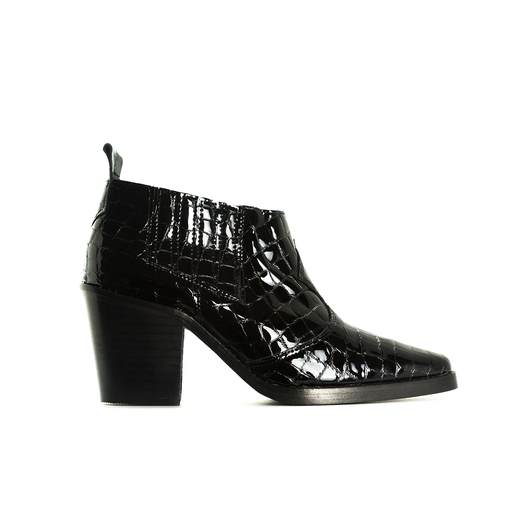 Grace Black Croco Booties