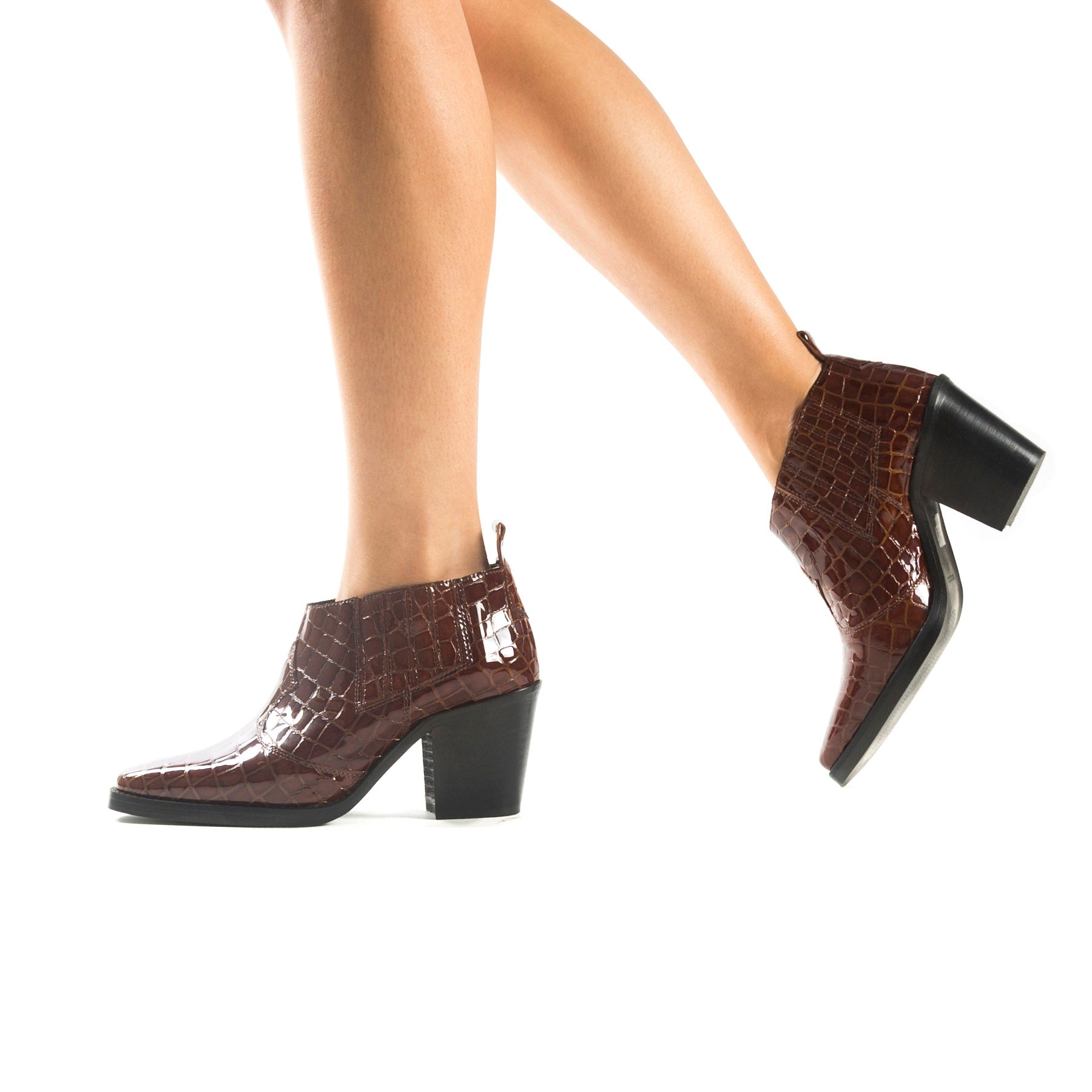 Grace Brown Croco Booties