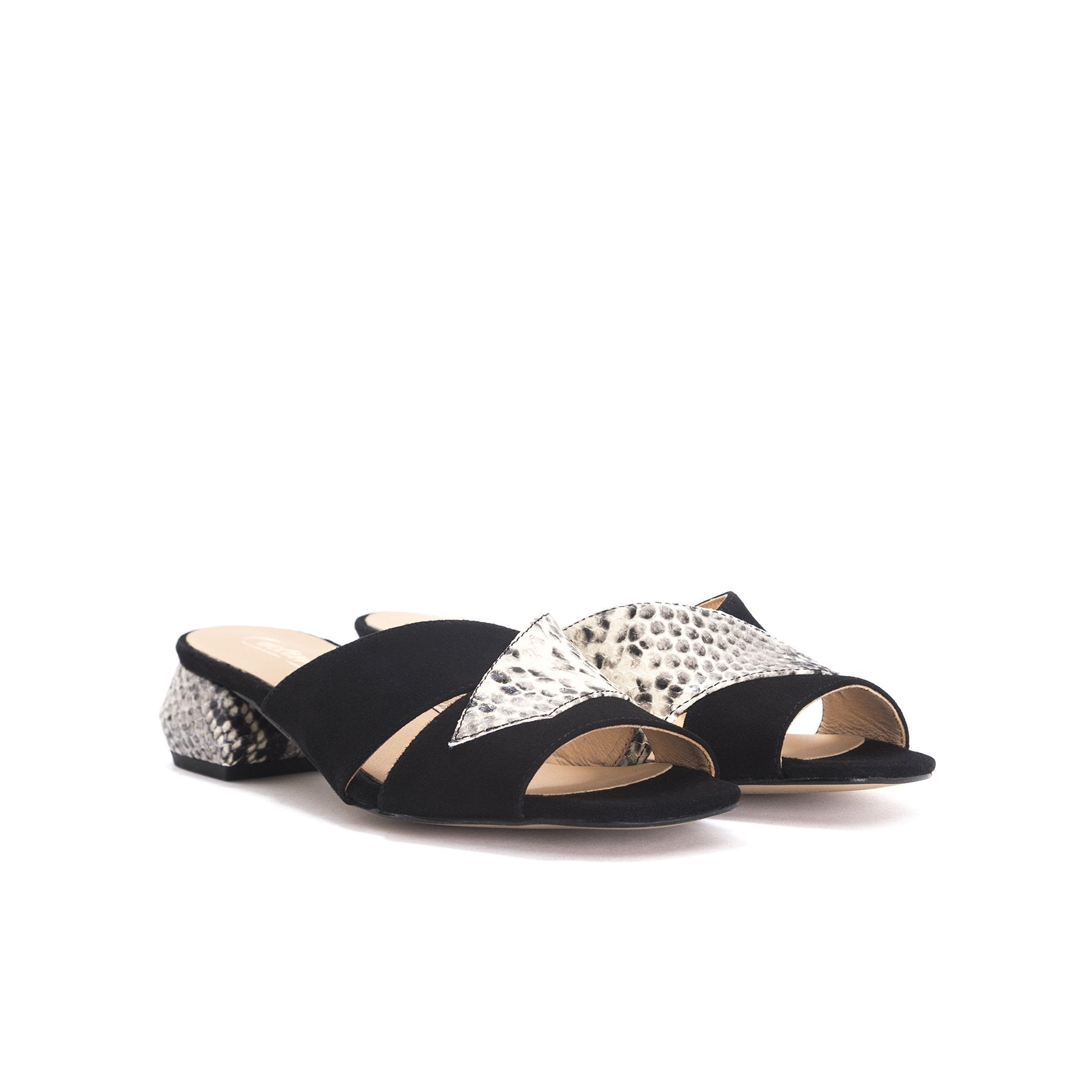 Gracie Black Snake&Suede Sandals
