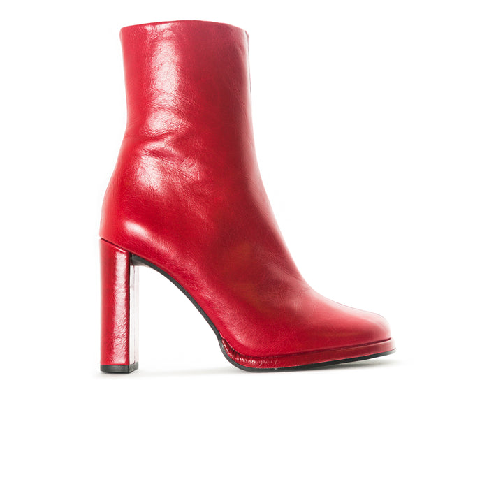 Hamton Red Leather Booties