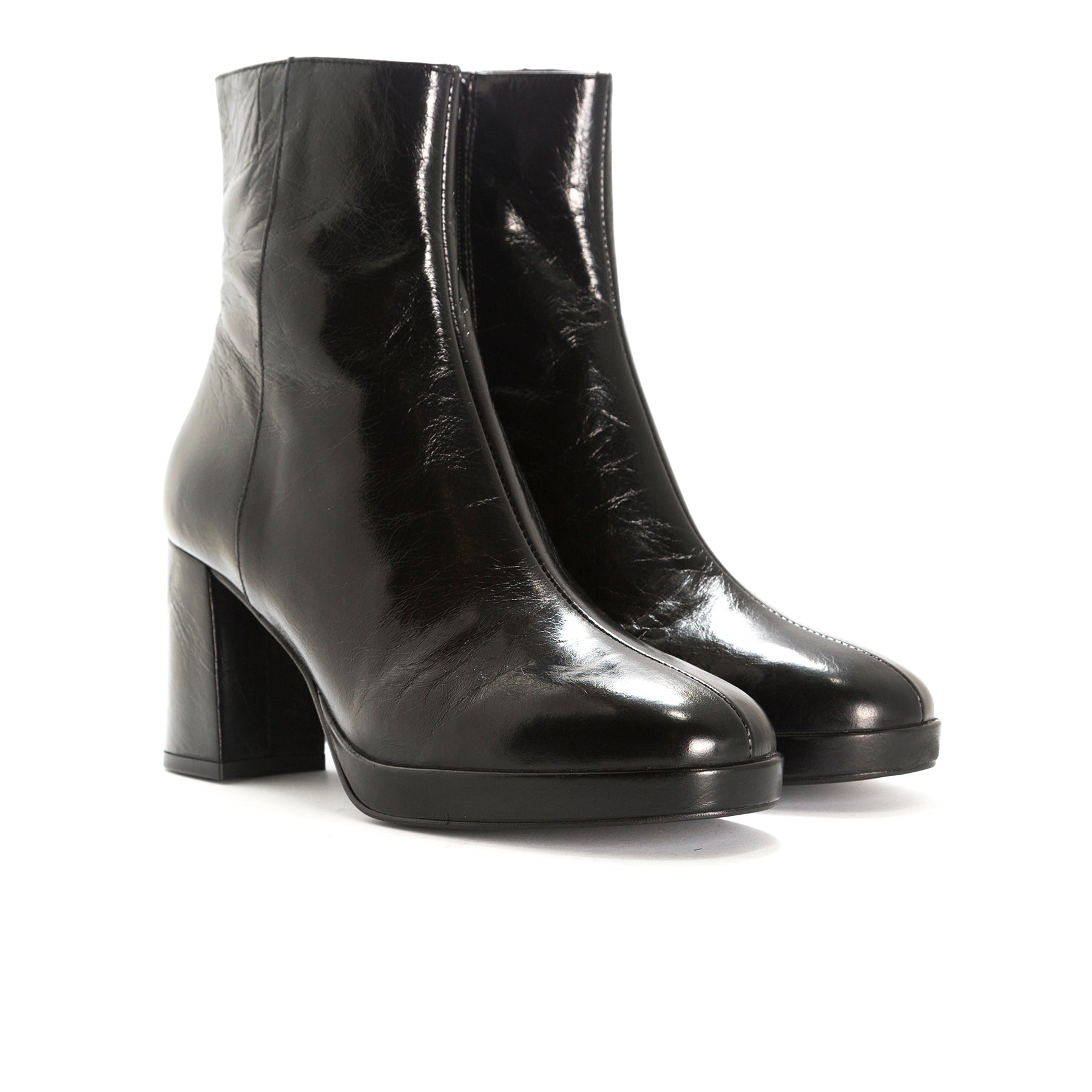 Henessey Black Leather Booties