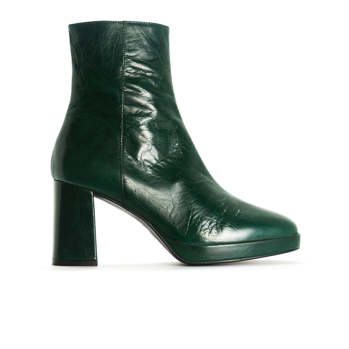 Henessey Green Leather Booties