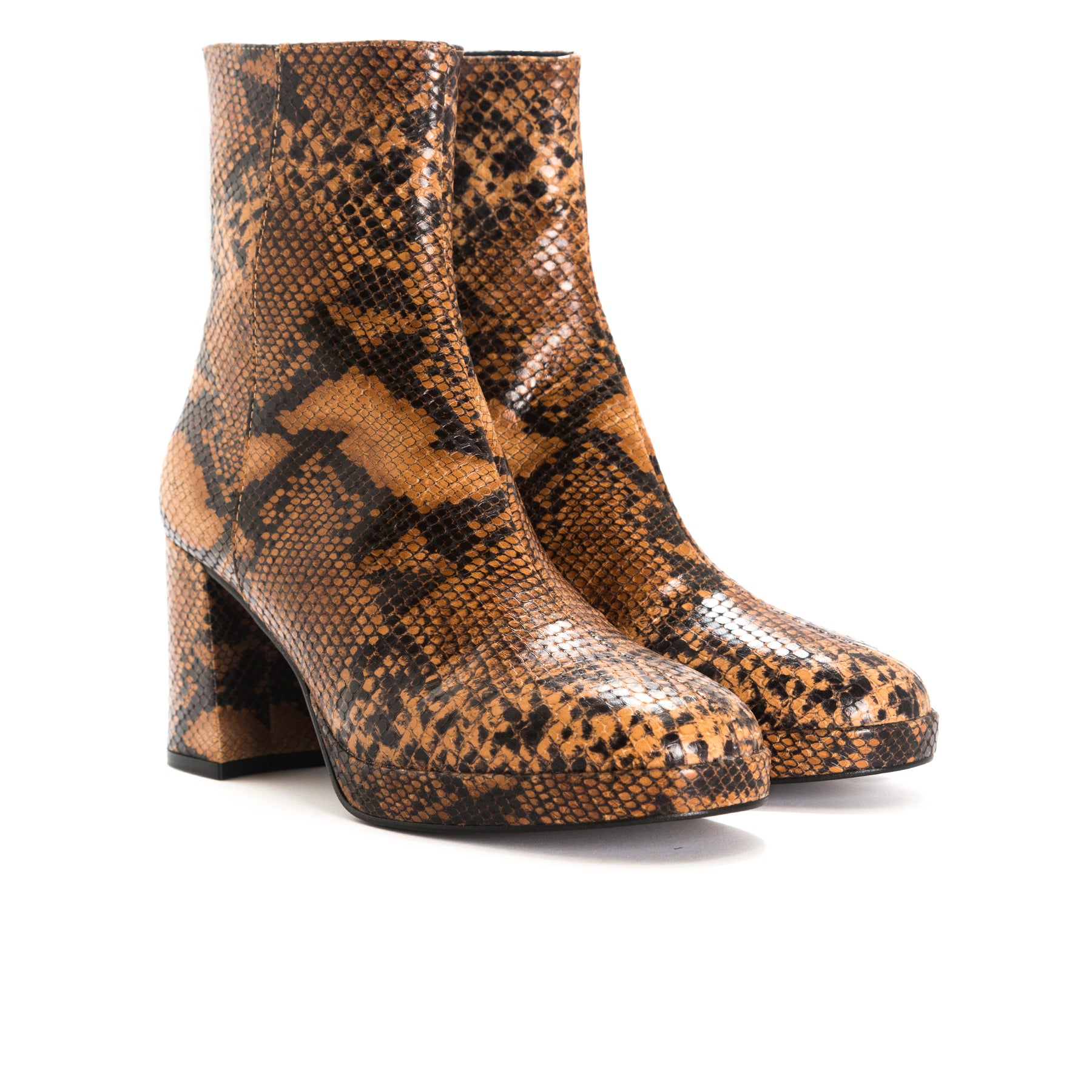 Henessey Tan Snake Leather Booties