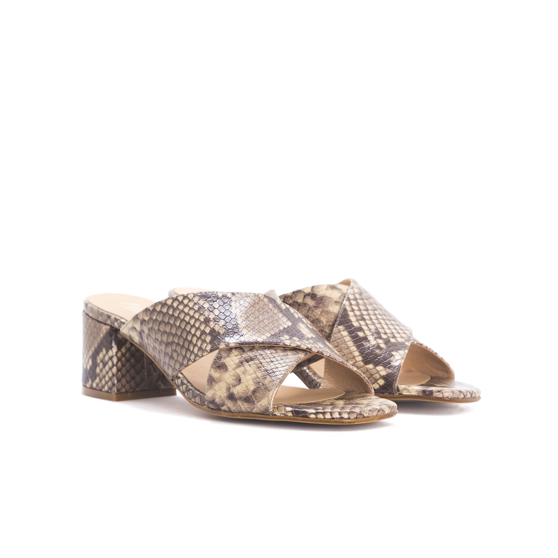Iba Tan Snake Leather Sandals
