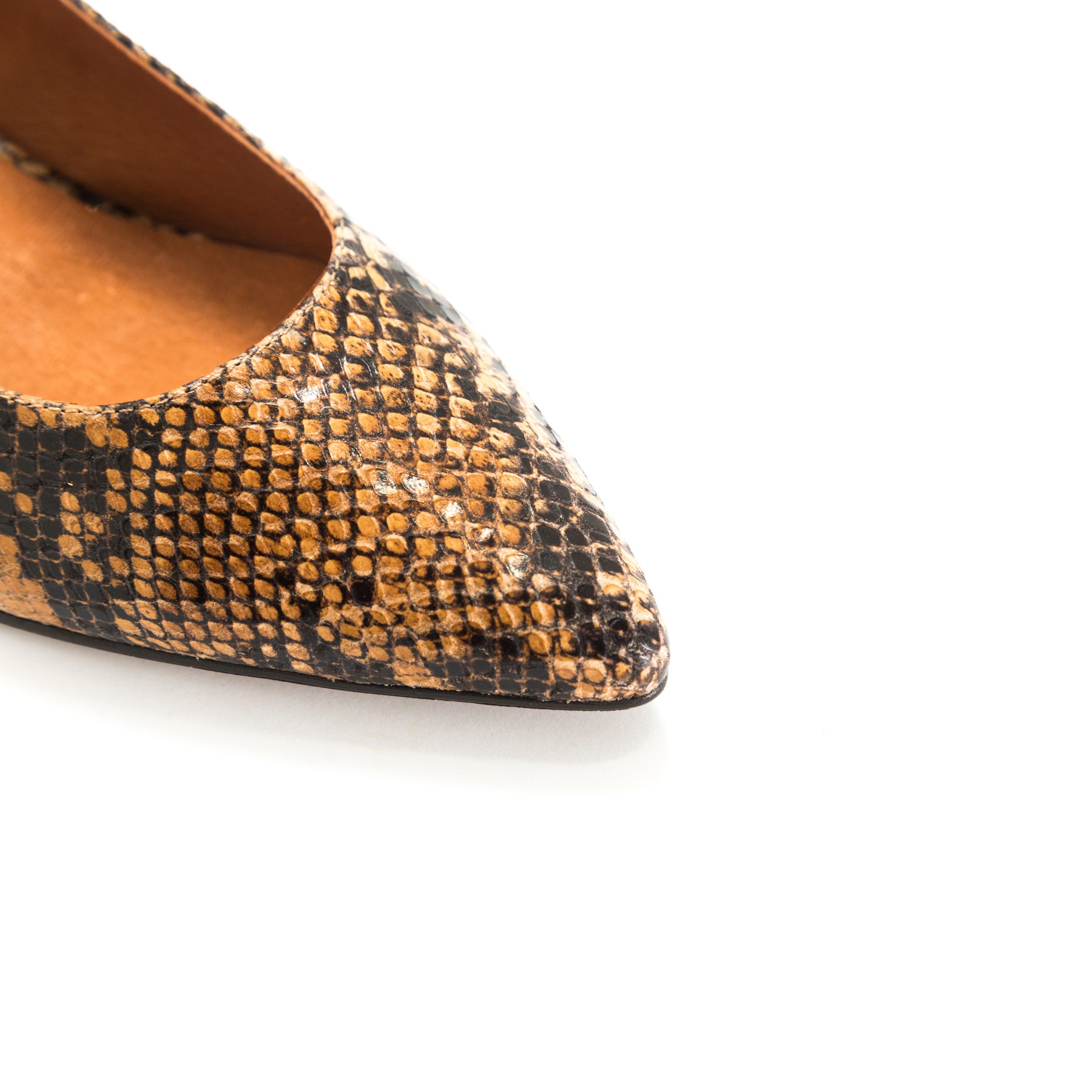 Ingrid Tan Snake Shoes