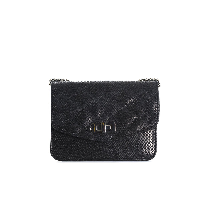 Joelle Black Leather Shoulder Bags
