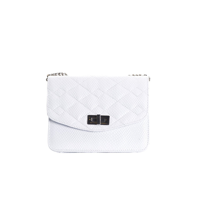Joelle White Leather Shoulder Bags