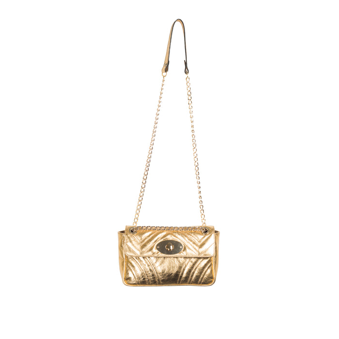 Juliet Gold Leather Shoulder Bags