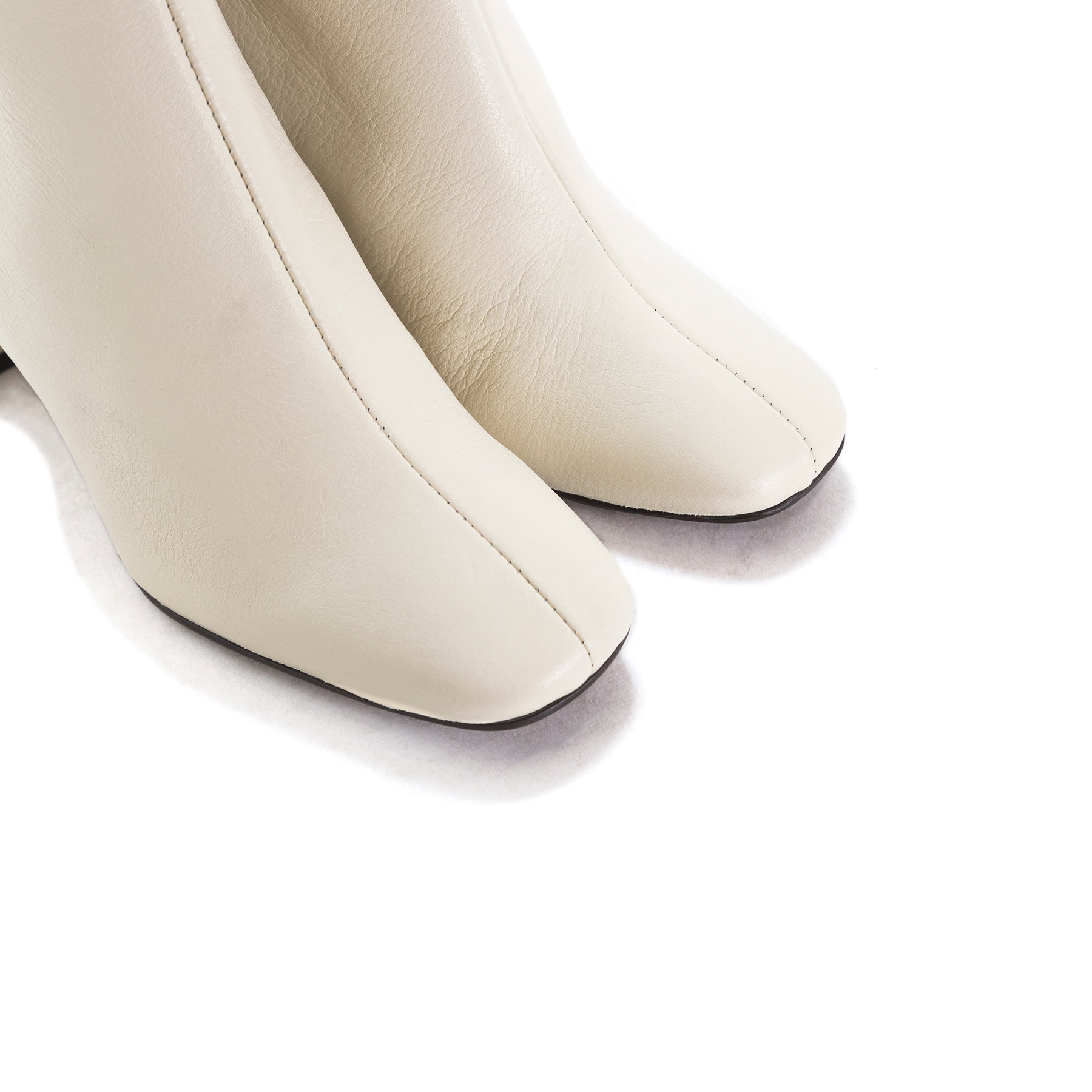 Kastoria White Leather Booties