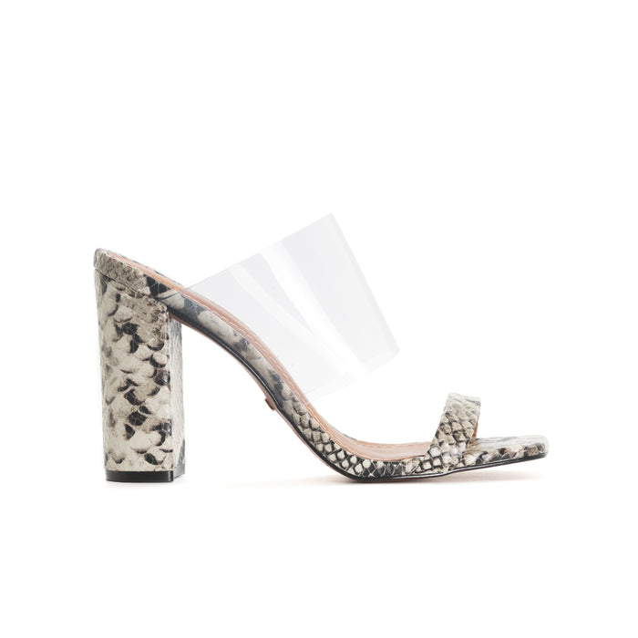 eca6378ec0 Katrina Light Grey Snake/Clear Mules