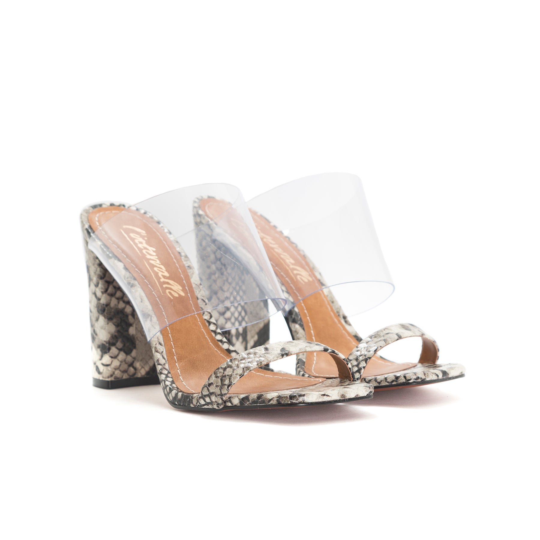 Katrina Light Grey Snake/Clear Mules