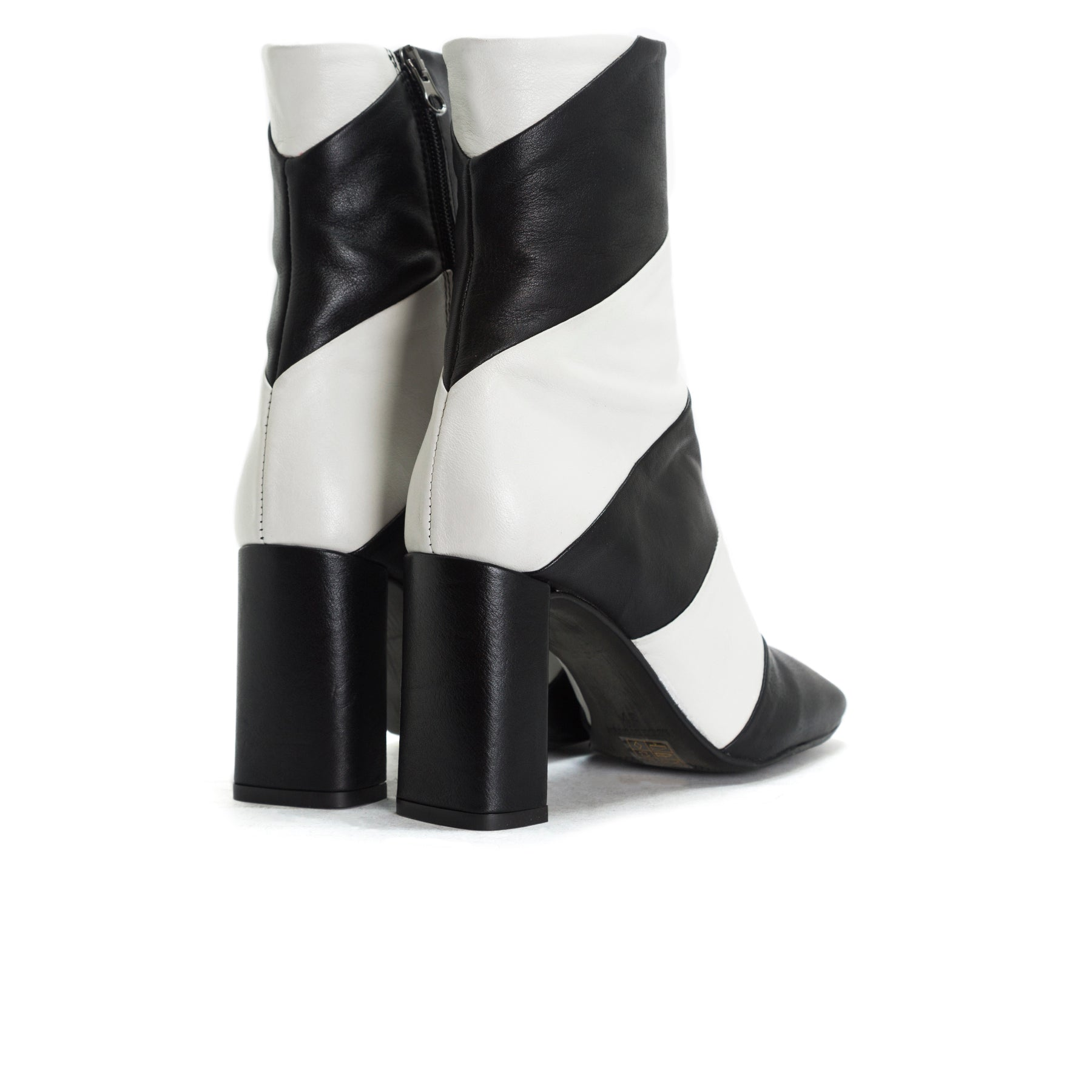 Lamia Black&White Leather Booties
