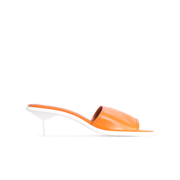 Lamya Orange Leather Mules