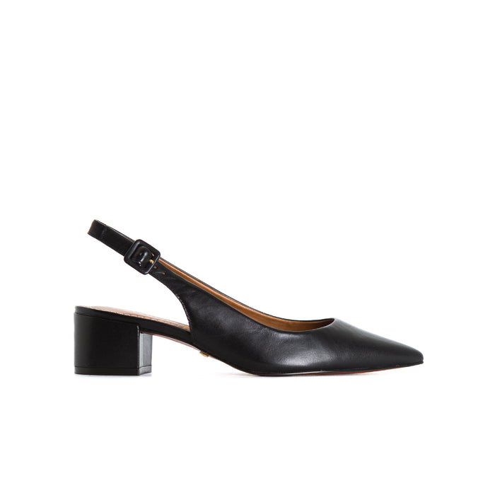 Lilian Black Leather Pumps