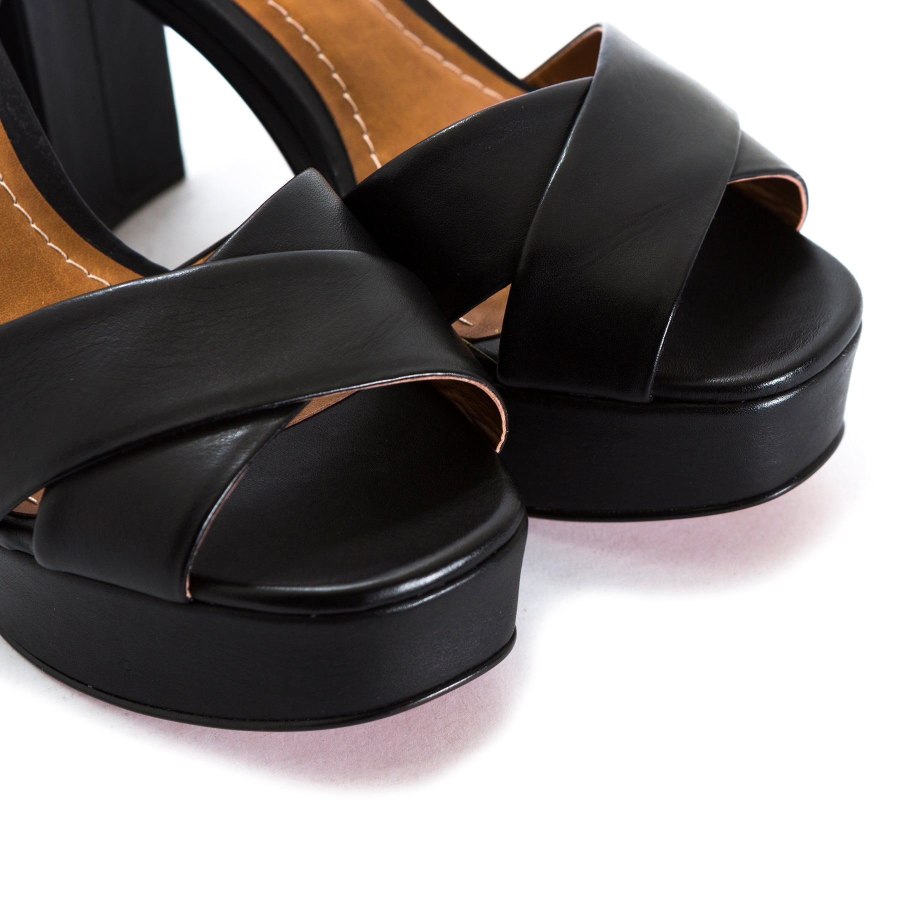 Marika Black Leather Sandals