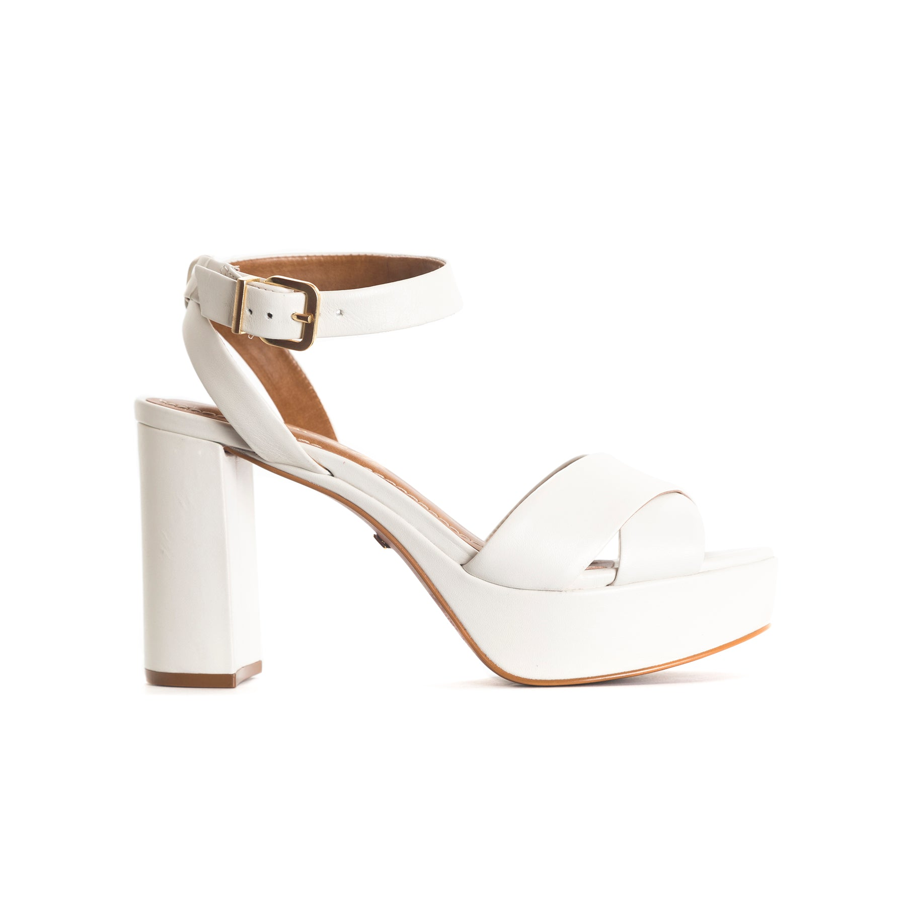Marika White Leather Sandals