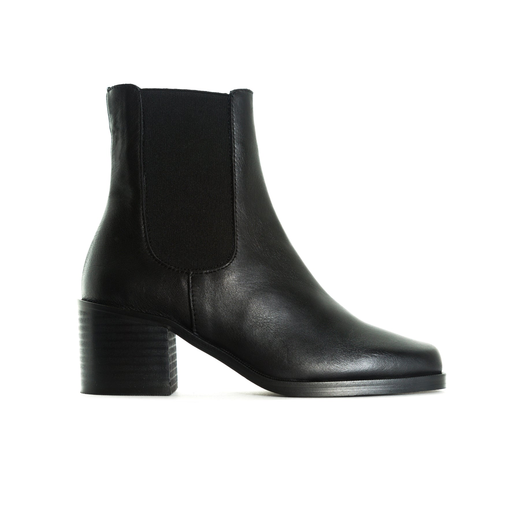Marseille Black Leather Booties