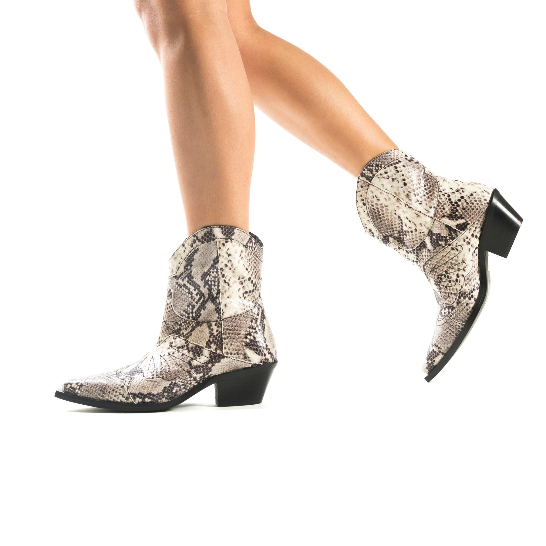 Maryland Nude Snake Leather Booties
