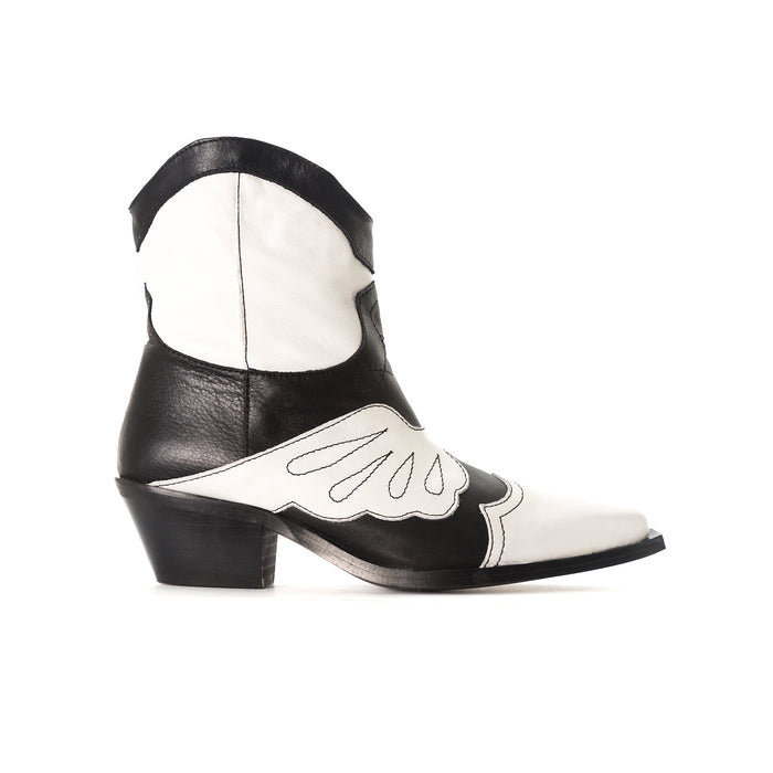 Maryland Black&White Leather Booties