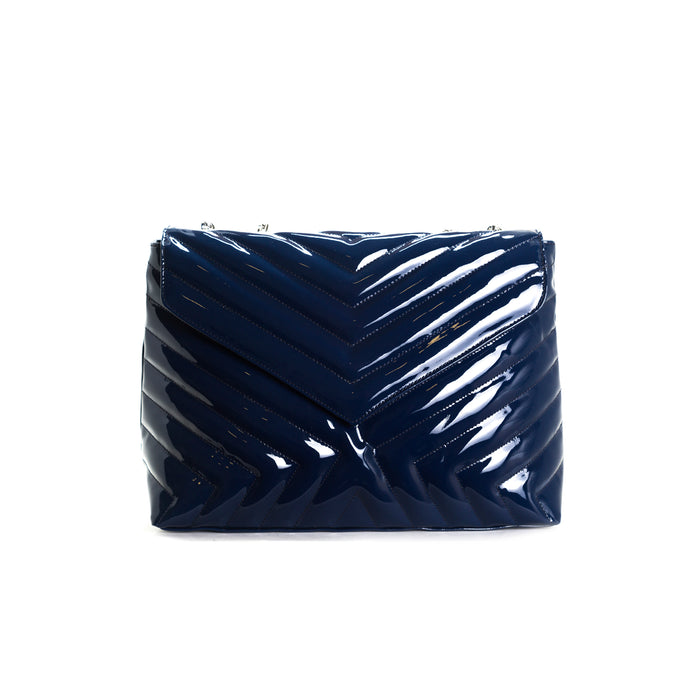 Melpo Navy Patent Bag