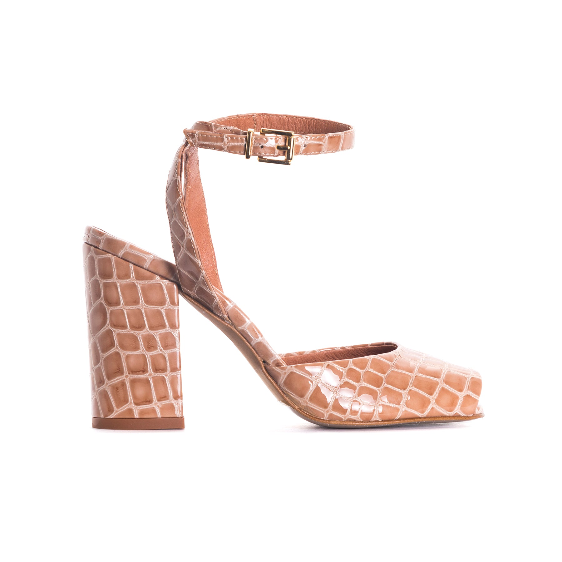 Mira Tan Croco Leather Sandals