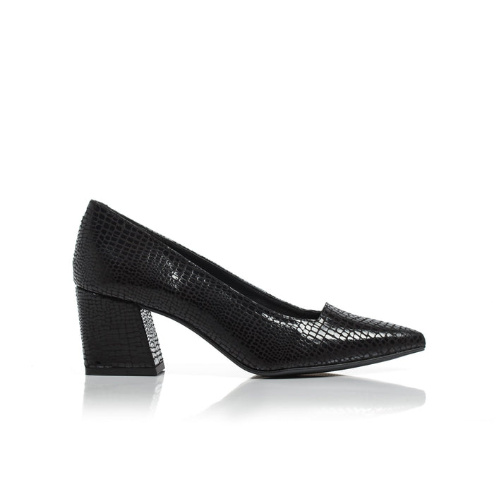 Nadia Black Snake Leather Pumps