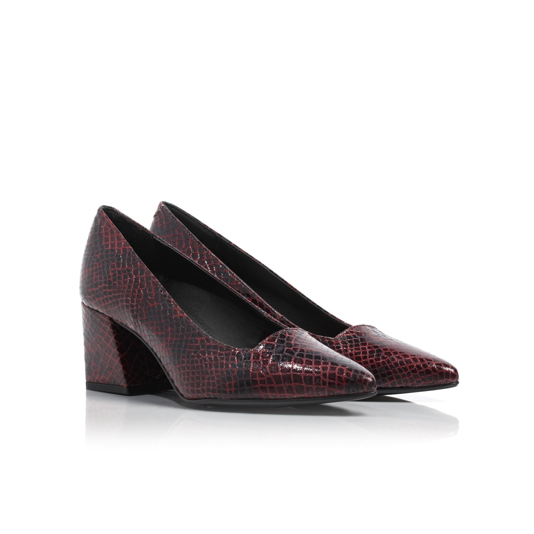 Nadia Red Snake Leather Pumps