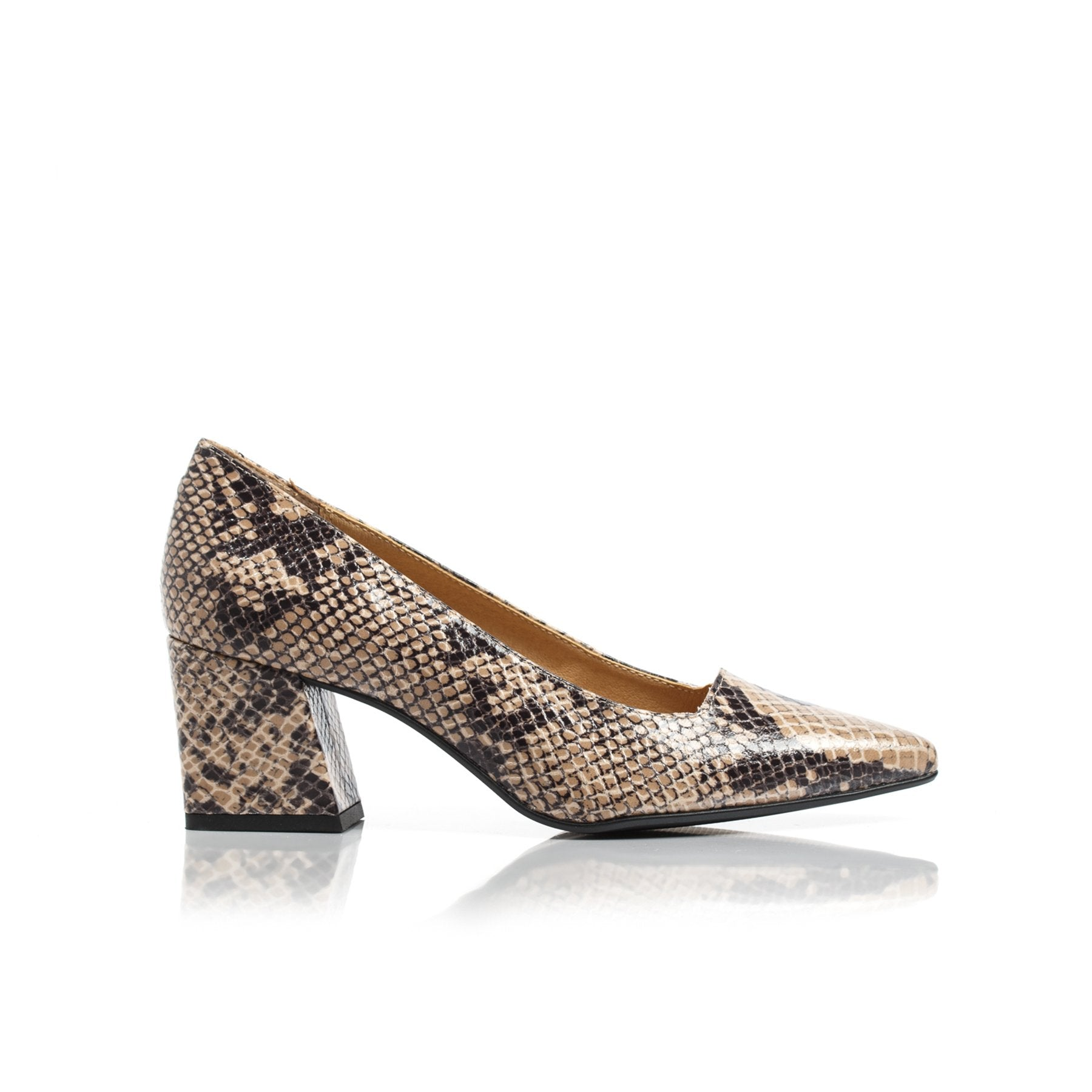 Nadia Tan Snake Leather Pumps