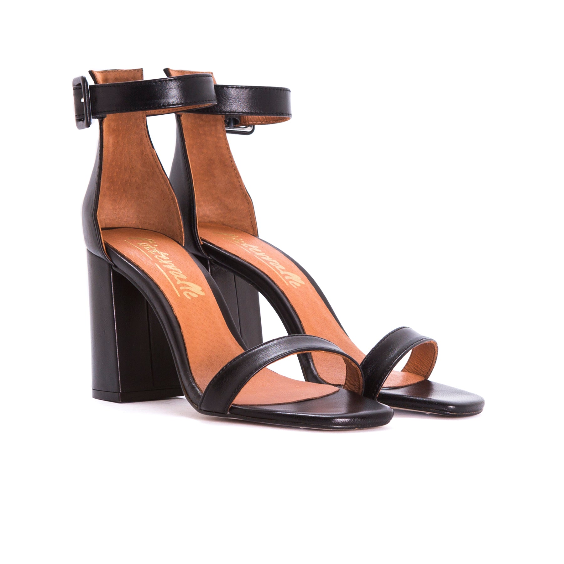 Nella Black Leather Sandals