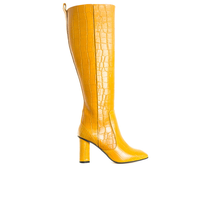 Nemorti Mustard Croco Leather Boots