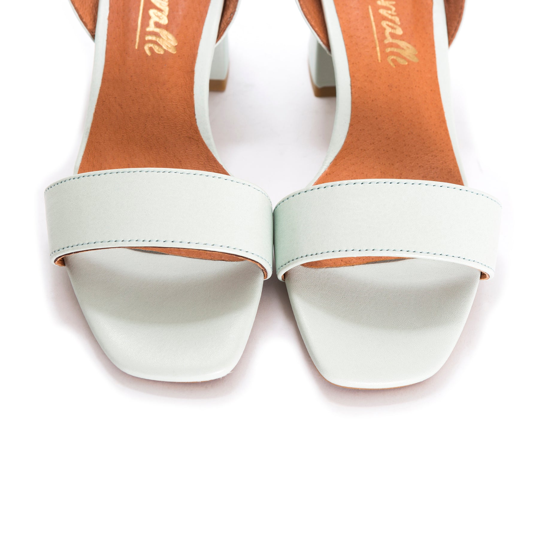 Perla Mint Leather Sandals