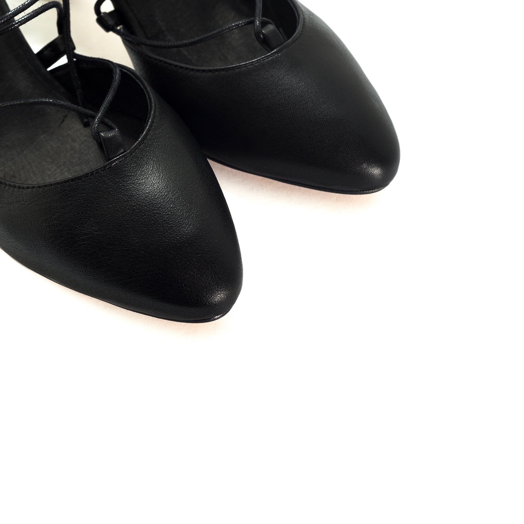 Piti Black Leather Pumps