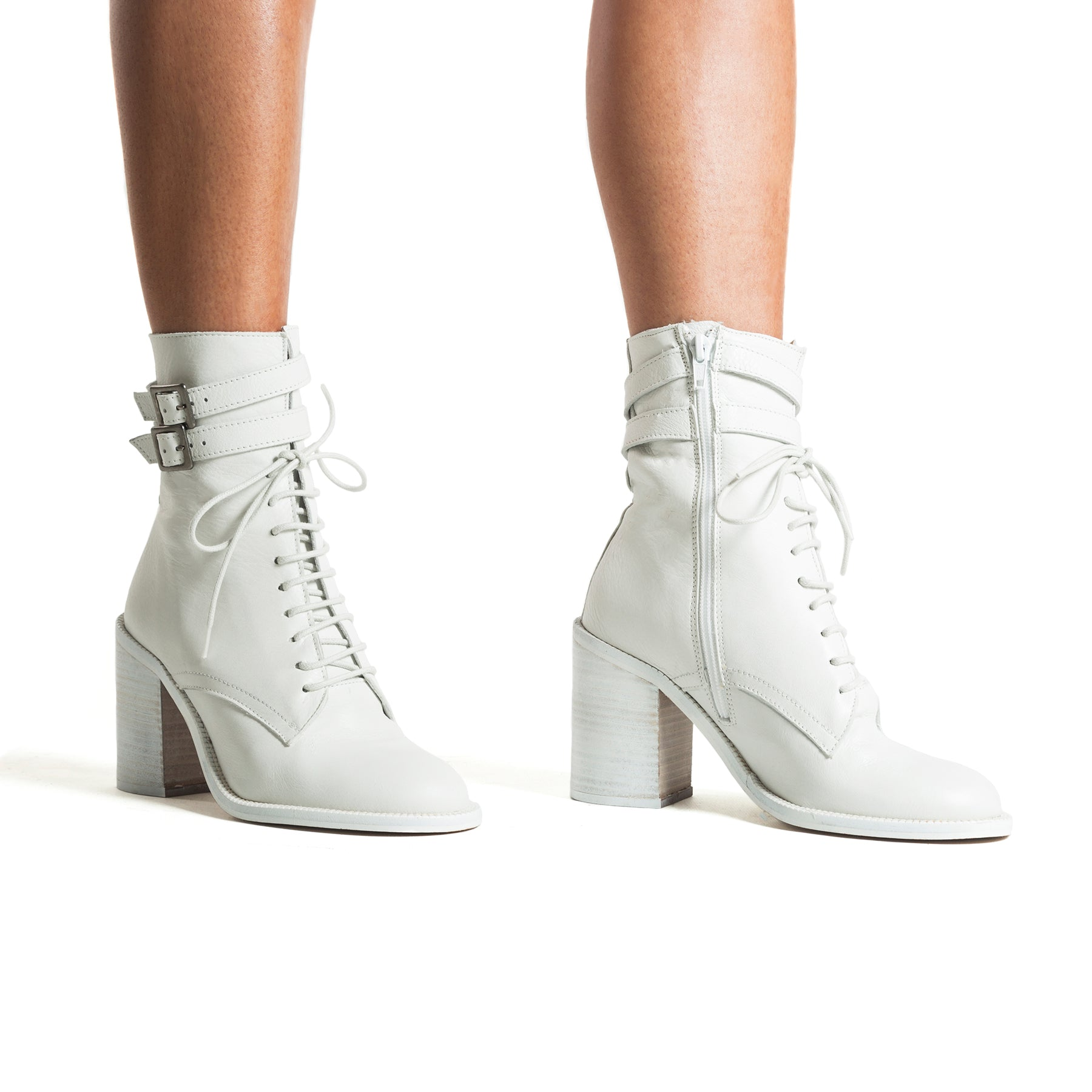 Pula White Leather Booties