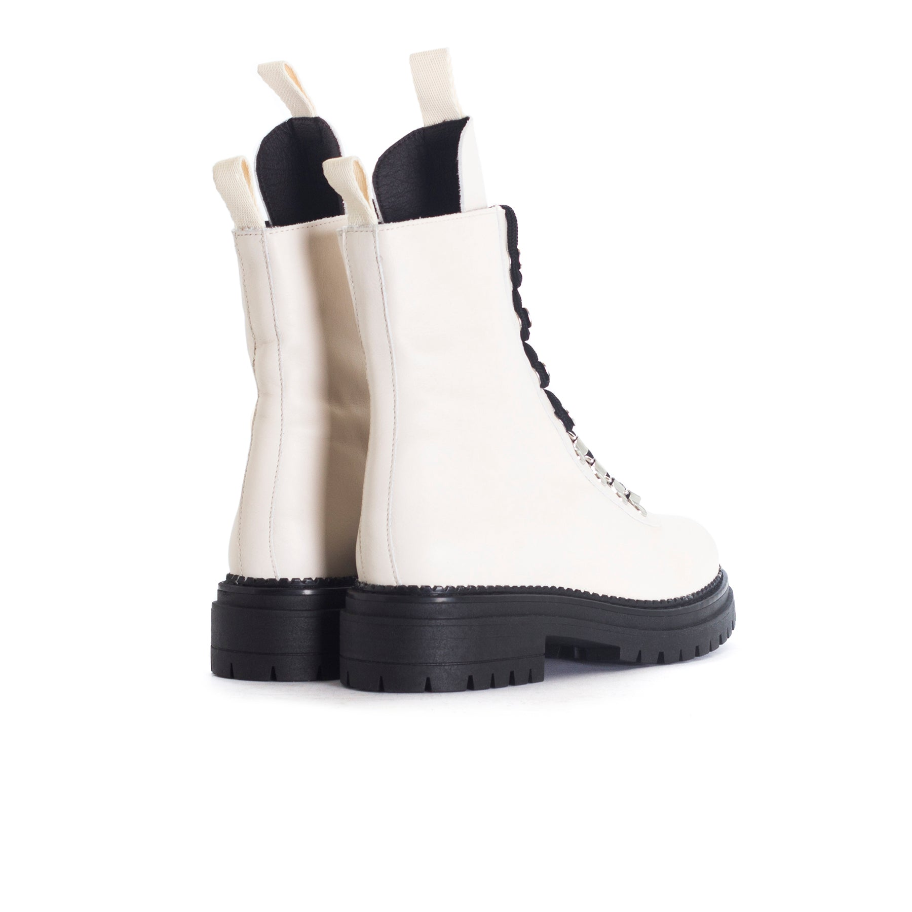 Reina Off White Leather Boots
