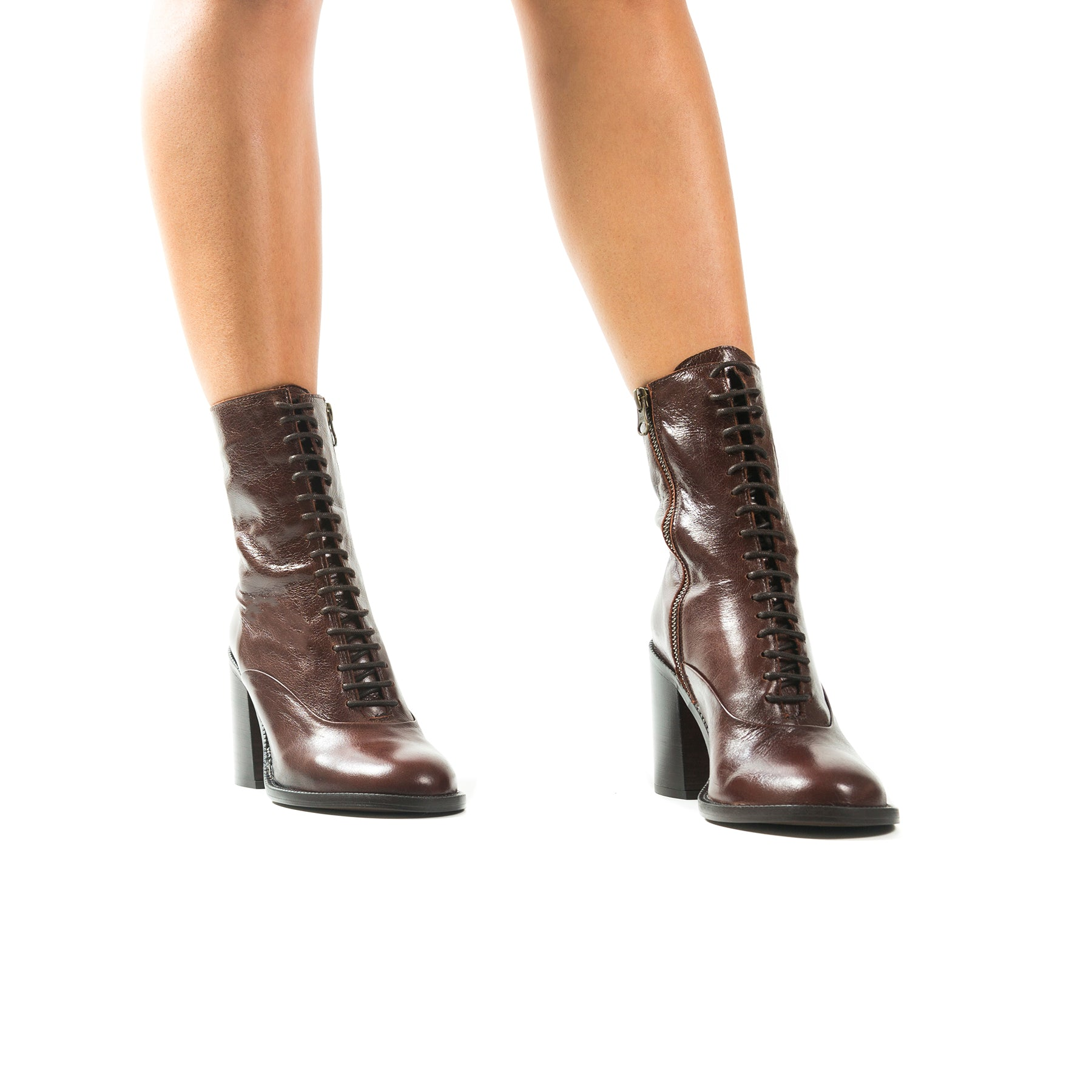 Richmond Brown Leather Booties