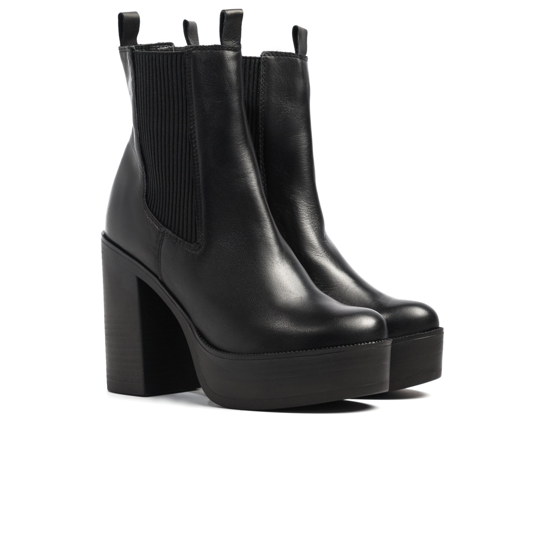 Rochel Black Leather Boots
