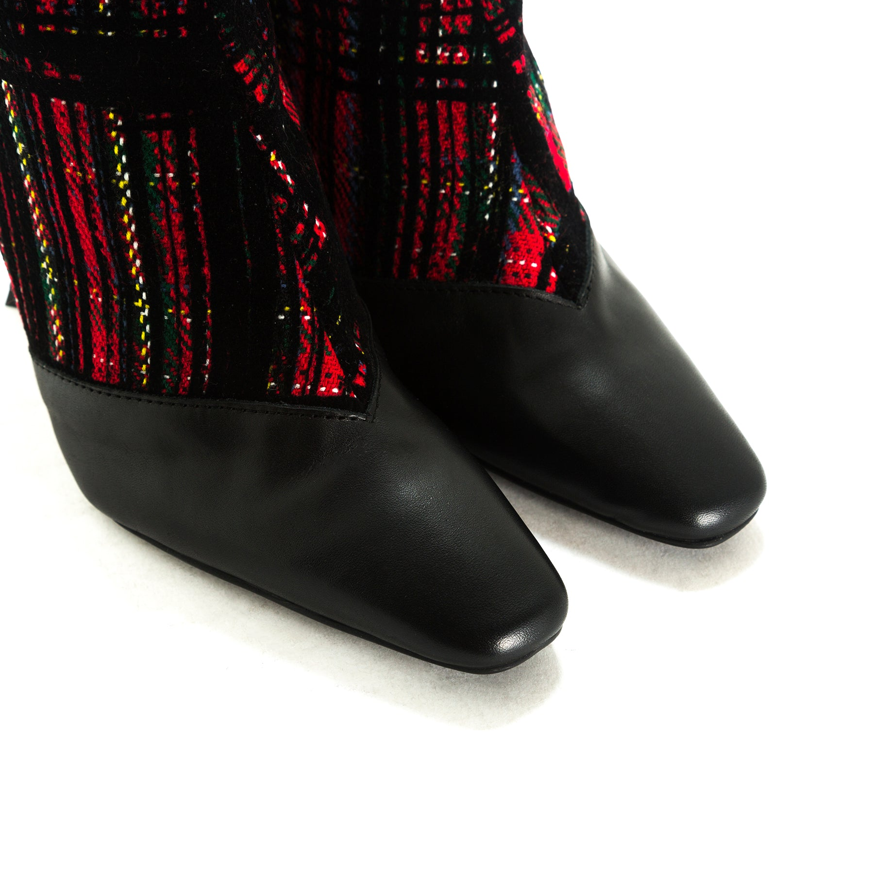 Sarti Black Leather/Fabric Booties