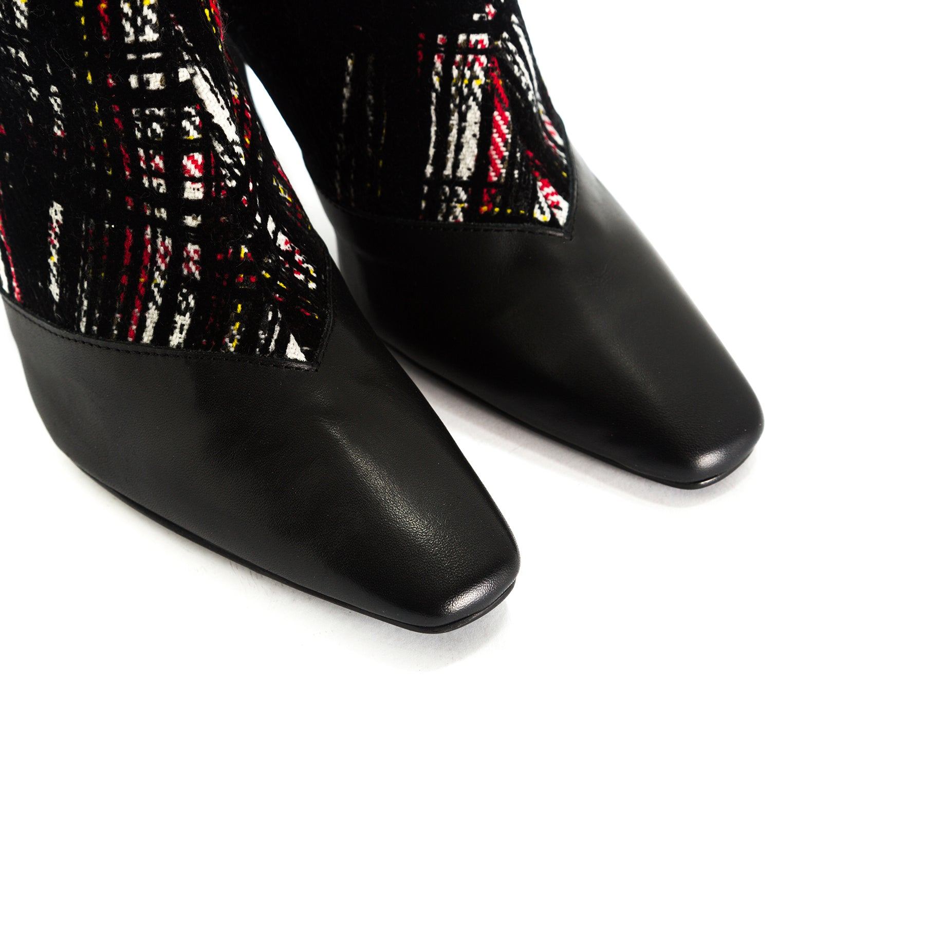 Sarti Black Leather/White Fabric Booties