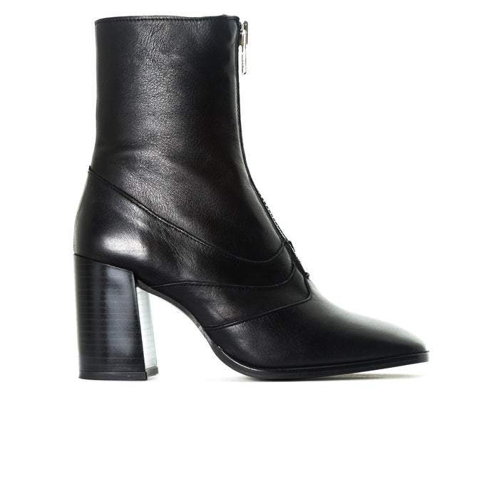 Splitt Black Leather Booties